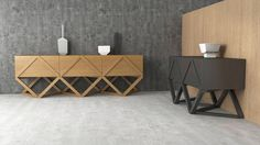 Inspired by rhombus geometry and slanting lines. Collection aimed for living premises, and consists from commode, sectioned sideboard and bedside table . Geometric Furniture, Art Furniture, Woodworking, Wood Work, Table, Behance, Design, Home Decor, Wood