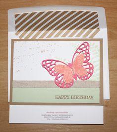 Stampin´Up!, Kreatives Muthaus, Happy Birthday mit Schmetterlingsgruß und Umschlags-Inlet Mehr unter: muthaus.jimdo.com
