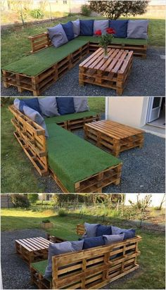 Unique pallet garden furniture.