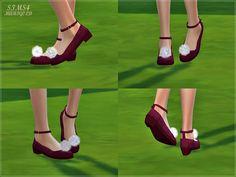 SIMS4 marigold: pompom ankle strap flat shoes_폼폼 발목 스트랩 플랫 슈즈_여자 신발