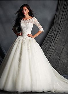 Glamorous Tulle Bateau Neckline Ball Gown Wedding Dress With Beaded Lace Appliques