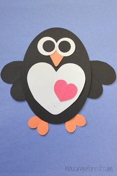 Heart Penguin Craft for Kids