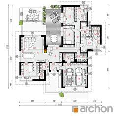 gotowy projekt Dom w kliwiach 3 rzut parteru Modern House Plans, House Floor Plans, Morden House, Classic House Exterior, Apartment Floor Plans, Bungalows, Planer, Architecture Design, House Design