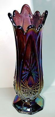 "Indiana 10"" Carnival Glass Heirloom Amethyst & Blue Vase"