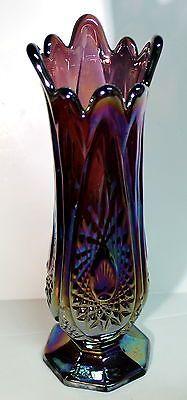 "Indiana 10"" Carnival Glass Heirloom Amethyst & Blue Vase"