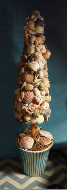 Potted Seashell Topiary Tree
