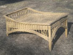 Large Bar Harbor Wicker Footstool Ottoman Circa 1920's