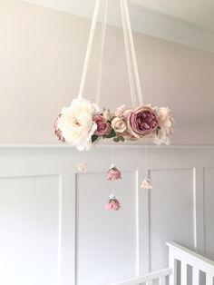 Mauve & blush nursery flower mobile crib mobile baby by RosyRilli
