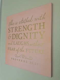 Wood Sign Decoration Proverbs 3125 She is clothed by aubreyheath