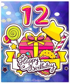 Happy Birthday Wishes 12th Birthday Girls, Happy 12th Birthday, Happy Birthday Celebration, Art Birthday, Happy Birthday Greetings, Birthday Verses, Birthday Clips, Birthday Girl Quotes, Cute Birthday Messages