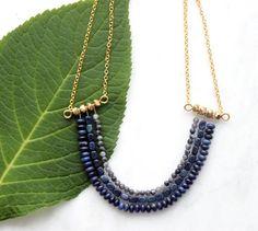 Handmade Jewlery, Multi Strand Statement Necklace Gold Brass, Lapis Lazuli alernative Dumortierite, Bohemian Necklace, Bohemian Necklace on Etsy, $78.00