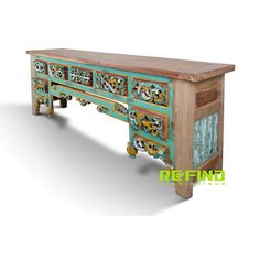 Reclaimed Teak And Jawa Java Wood Side Table Bali Antique With 5 Drawers Side Tables For Sale, Reclaimed Wood Furniture, Java, Teak, Home Accessories, Drawers, Stool, Recycling, Antiques