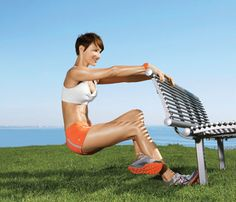 Sit Tight Stand an arm's length behind bench, gripping seat back with both hands. Wedge ball of right foot against bench leg and hook left ankle behind right calf to start. Lower butt toward ground (as shown). With weight in right heel, press up to start for 1 rep. Do 12 reps. Switch sides; repeat.