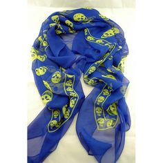 Silkaline skull scarf- Blue/ Lime Available from www.skullaccessories.co.uk