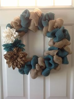 burlap wreath | Two toned bubble burlap wreath | DIY