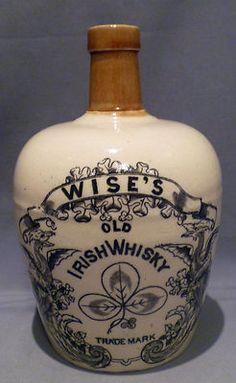 Black Wise's Shamrock Dragons Old Irish Whiskey Gallon Stoneware Jug Cigars And Whiskey, Scotch Whiskey, Bourbon Whiskey, Whiskey Bottle, Alcohol Bottles, Liquor Bottles, Gin, Tequila, Oldest Whiskey