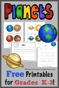 A free printable about the planets for grades K-3.