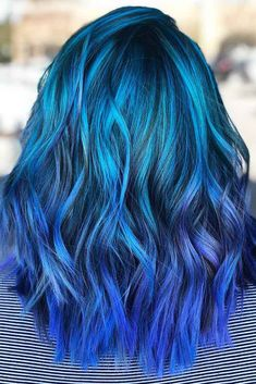 30 trendy styles for blue ombre hair hair color blue ombre h Girl Blue Hair, Hair Dye Colors, Ombre Hair Color, Cool Hair Color, Best Ombre Hair, Brown Ombre Hair, Blonde Ombre, Blonde Color, Blonde Shades