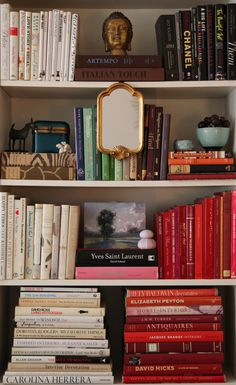 red white and black -- classic with a touch of seafoam for an accent! : Color-coded book shelf