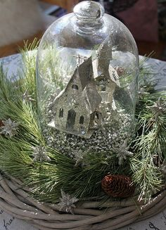 Cloche nestled in a wreath -good idea