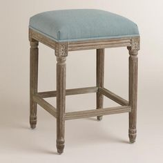 One of my favorite discoveries at WorldMarket.com: Blue Linen Paige Backless Counter Stool