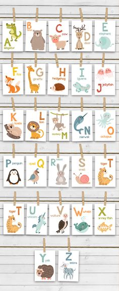 ♥ Cheerful alphabet animal flash cards, full with handdrawn animals. Not only colorful and fun but also educational. A great way to learn words and alphabet letters from visual memory!