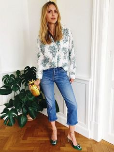 Style Notes: Pernille Teisbaek uses her Manolo Blahnik Hangisi mules to liven up a pair of cropped jeans.