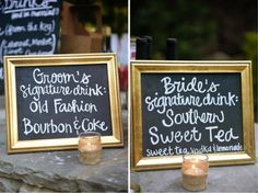 """Choose a few signature """"his"""" and """"hers"""" drinks instead of offering beer/wine/full bar... Love this idea!"""