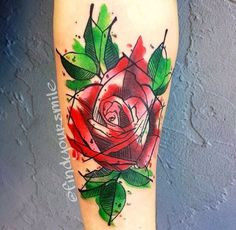 Red Watercolor tattoo rose with black outline. Description from pinterest.com. I searched for this on bing.com/images