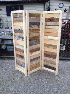 "I make these re-purposed wood room dividers using pallet and barn wood.  The standard size is 5' 10"" tall with three panels.  Each panel is about 21"" wide.  They sell for $175.  I make several other sizes and they can be customized to fit your needs.  See all the variations at https://www.etsy.com/shop/BanditsCollectibles"