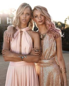 Loving this colour palette in sweet blush & rosey posey sequins of our Goddess By Nature multiway dresses featured in ModernWedding 😍❤️ www.goddessbynature.com Stockists & shipping worldwide  #wedding #bridesmaids #multiway #dresses