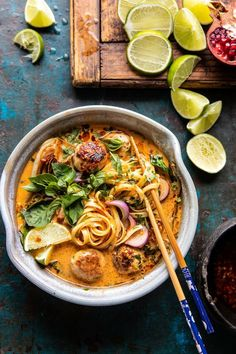 Weeknight 30 Minute Thai Chicken Meatball Khao Soi. This Thai inspired noodle soup is the simplest weeknight dinner...hearty, cozy, quick, and healthy too! Healthy Chicken Recipes, Asian Recipes, Soup Recipes, Cooking Recipes, Ethnic Recipes, Recipes Dinner, Dutch Recipes, Beer Recipes, Rib Recipes