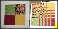 Ricky Tims' Convergence quilt by Miss L - before and after;  Busy Needle Quilting Peaks Spring Retreat 2013