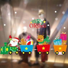 2018 Merry Новогодние товары окна Наклейки статическое электричество съемный дом номер для супермаркета купить на AliExpress