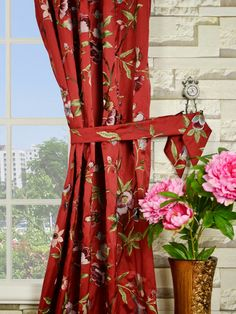 With branches, leaves, bubs and flowers all shown, these panels are full of the smell of spring. We hope you will have a joyous mood just like the way the curtains express. Faux Silk Curtains, French Country Bedrooms, Red Cottage, Red And White, Cheer, Beach, Silver, Home Decor, Humor
