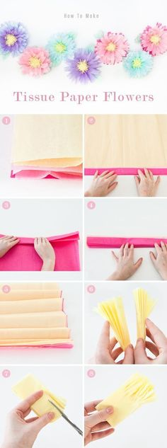 How to make flowers out of tissue paper. Cute flower craft!
