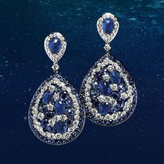 Dive in the beauty of these pendant drop earrings made of white gold, brilliants, ct. 5.38, with sapphires and blue corundums, ct. 19.27. #Crivelli