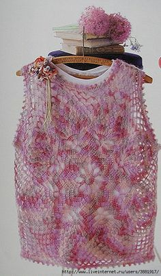 Beautiful crochet top in shades of pink. Symbol charts at the Russian site.