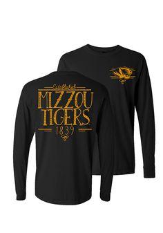 5f25553ad Mizzou Tigers Black T-Shirt! This Mizzou Tigers Handwritten Long Sleeve T- Shirt