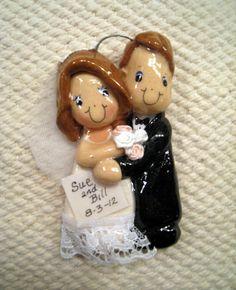Bride and Groom Ornament handmade bread dough by JudyCaron on Etsy