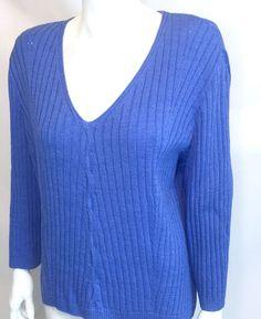 St John Yellow Label Ribbed Santana Knit Blue V Neck 3 4 Sleeve Sweater XL   eBay