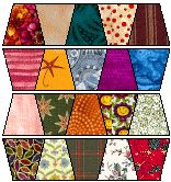 """Tumbler Quilt Pattern and Template provided here for a quilt of 39"""" wide by 48"""" long (but of course you can make it bigger). Scrappy(-:"""