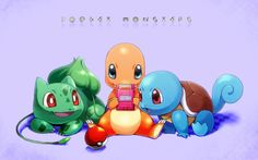 Video Game Pokemon  Bulbasaur (Pokémon) Squirtle (Pokémon) Charmander (Pokémon) Starter Pokemon Unown (Pokémon) Pokeball Wallpaper