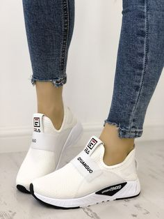 Solid Letter Print Breathable Sport Sneakers is part of Shoes - Cute Sneakers, Sneakers Mode, Sneakers Fashion, Fashion Shoes, Shoes Sneakers, Sneakers Workout, Nike Fashion, Style Fashion, Women's Shoes