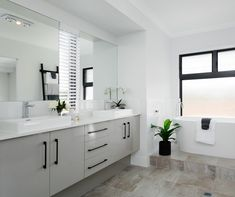 If we can't afford fully floating cabinets, the ones which appear to be floating might be ok :) Bathroom Interior, Modern Bathroom, Master Bathroom, Bathroom Designs Images, Floating Cabinets, Open Living Area, Bathroom Pictures, Beautiful Bathrooms, Double Vanity