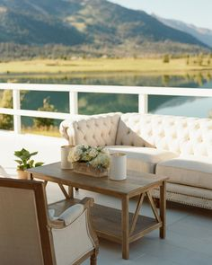 Everyone could take in the picturesque views in the lounge. Sticking with the day's color palette, the seating area featured white and cream furniture, finished off with wood accents and hints of greenery. Montana Rental Co? Wedding Lounge, Bar Lounge, Lounge Seating, Lounge Areas, Wedding Decor, Outdoor Sofa, Outdoor Furniture Sets, Outdoor Decor, Cream Furniture