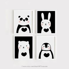 Cute animals Nursery Art Set of 4 art print download Poster Panda Bunny Bear Penguin for Baby Kids Child room Black and white printables