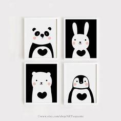 Niedliche Tiere Kinderzimmer-Set 4 Kunstdruck Kunst von ARTsopoomc