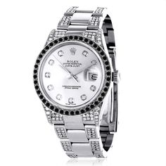 Custom White Black Diamond Rolex Datejust Mens Watch 7ct
