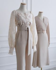 Delicate and vintage images in beige color. ⠀ How from images do you like better? Kpop Fashion Outfits, Edgy Outfits, Mode Outfits, Classy Outfits, Hijab Fashion, Pretty Outfits, Fashion Dresses, Fashion Heels, Korean Girl Fashion